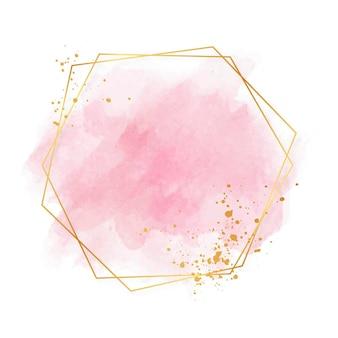 Moldura dourada luxuosa em rosa pastel