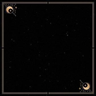 Moldura dourada mística em vetor de fundo preto