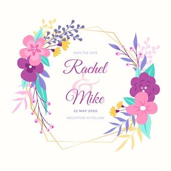 Moldura dourada moderna para casamento com flores