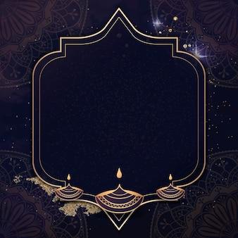 Moldura dourada no plano de fundo padrão diwali