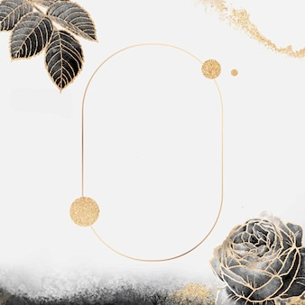 Moldura dourada oval floral