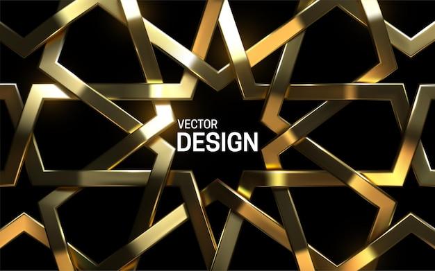 Moldura dourada padrão árabe