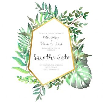 Moldura dourada poligonal com folhas para convite de casamento