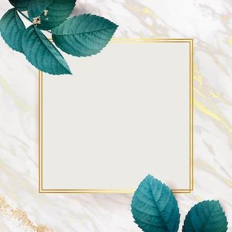 Moldura dourada quadrada com fundo de folhagem