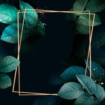 Moldura dourada quadrada com vetor de fundo de padrão de folhagem