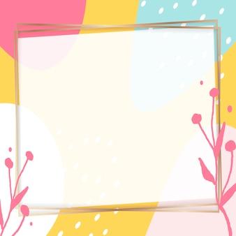 Moldura dourada quadrada em um fundo colorido padrão de memphis