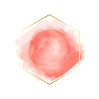 Moldura dourada simples com mancha de aquarela