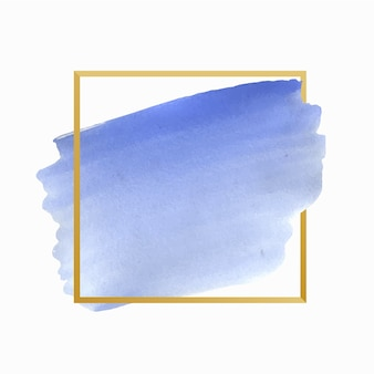 Moldura dourada simples mancha de aquarela