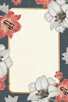 Moldura dourada vetor padrão floral estilo vintage