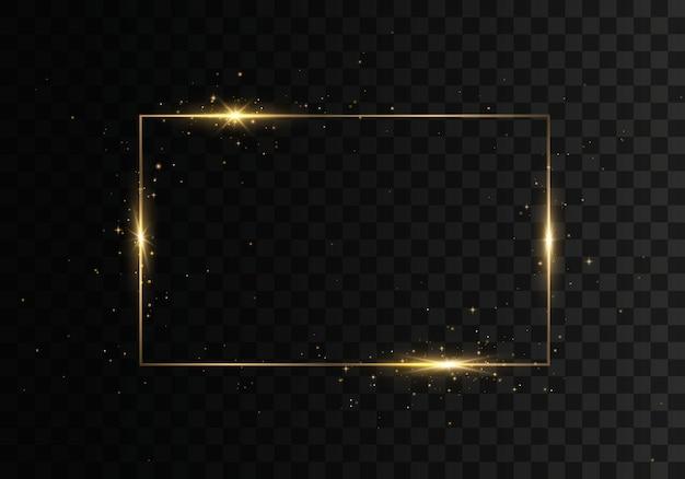 Moldura dourada vintage brilhante com efeitos de luzes.