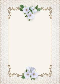 Moldura dourada vintage com flores decorativas