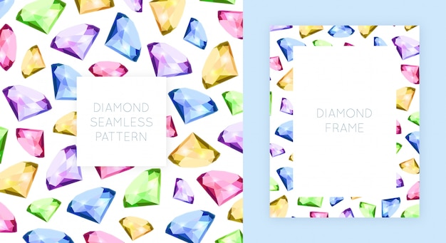 Moldura e diamante padrão sem emenda