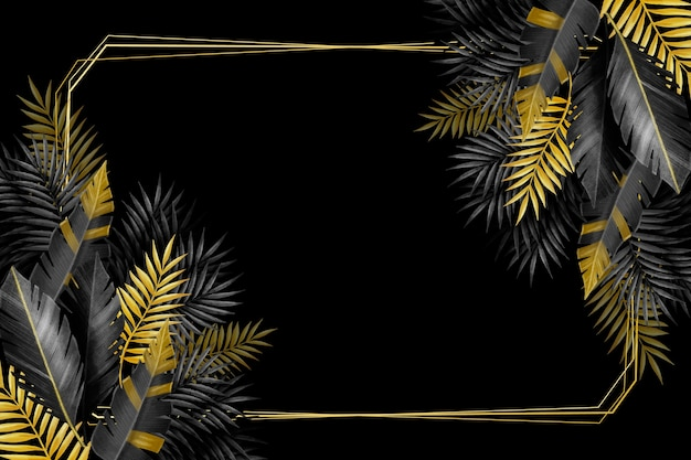 Moldura e folhas tropicais de prata e ouro