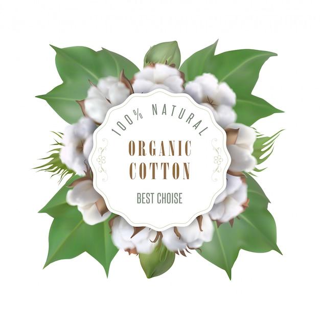 Moldura e texto redondos algodão orgânico, natural, melhor escolha e ornamento floral com algodão sobre fundo branco. ilustração vetorial