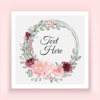 Moldura elegante com grinalda de folhas de flores rosa e borgonha e rosa