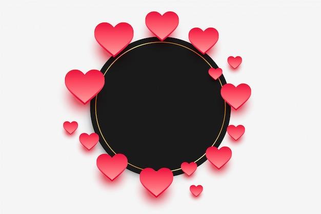 Moldura elegante corações com espaço de texto