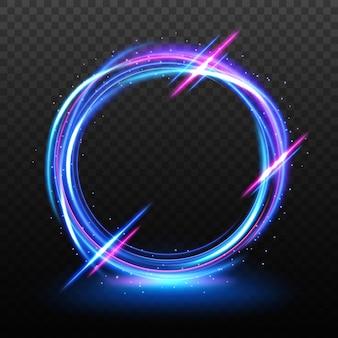 Moldura elegante de luz neon com um padrão transparente isolado e fácil de editar