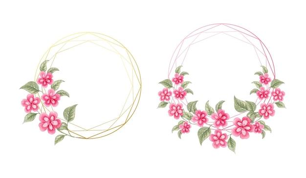 Moldura elegante em aquarela de flor rosa