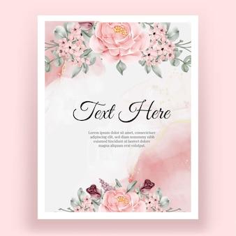 Moldura elegante rosa pastel com folhas de flores