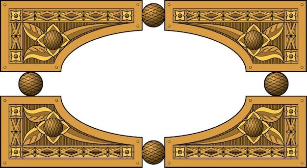 Moldura elíptica de madeira