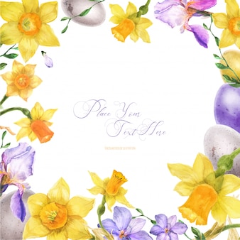 Moldura em aquarela de páscoa com flores da primavera e ovos
