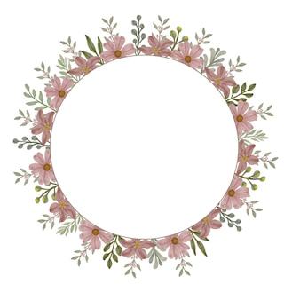 Moldura em aquarela floral circular