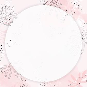 Moldura em aquarela redonda com folhas rosa