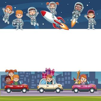 Moldura em branco dos desenhos animados das crianças bonitas