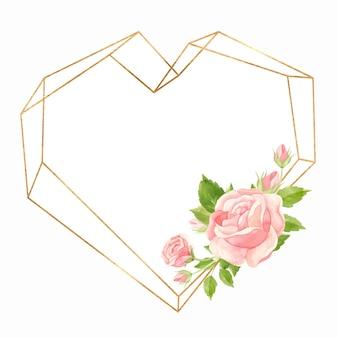 Moldura em coração com rosas cor de rosa e moldura geométrica dourada floral