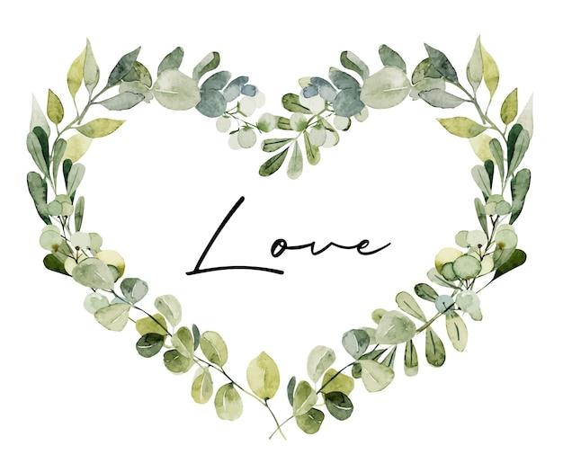 Moldura em coração de aquarela ramos verdes, folhas e eucalipto