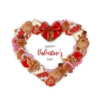 Moldura em forma de coração com biscoitos de gengibre e laço vermelho. coroa de flores do dia dos namorados com biscoitos de gengibre