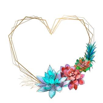 Moldura em forma de coração com suculentas brilhantes.