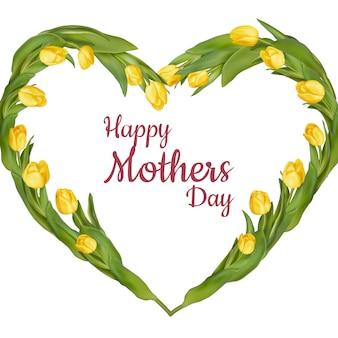 Moldura em forma de coração de tulipas frescas. dia das mães.