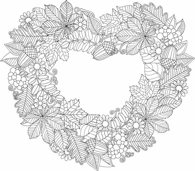 Moldura em forma de coração feita de folhas de árvores diferentes. página para colorir para adultos