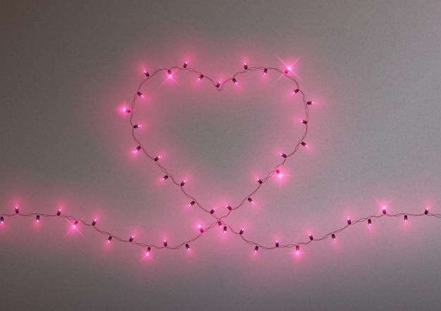 Moldura em forma de coração guirlanda brilhante luzes led