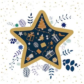 Moldura em forma de estrela com árvore de natal e presentes dentro e decoração floral