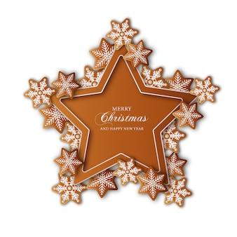 Moldura em forma de estrela de natal com biscoitos de gengibre