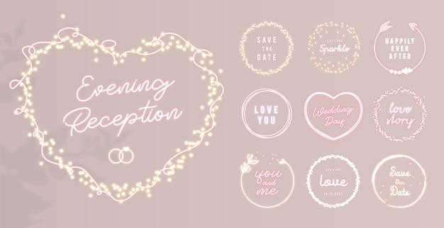 Moldura em formato de coração de néon com brilhos de luz e etiquetas redondas brilhantes para decoração de casamento