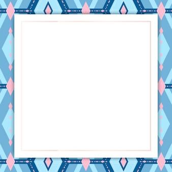 Moldura estampada geométrica sem costura azul brilhante