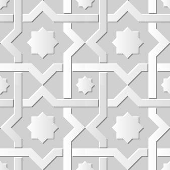 Moldura estrela cruzada em papel damasco 3d sem costura