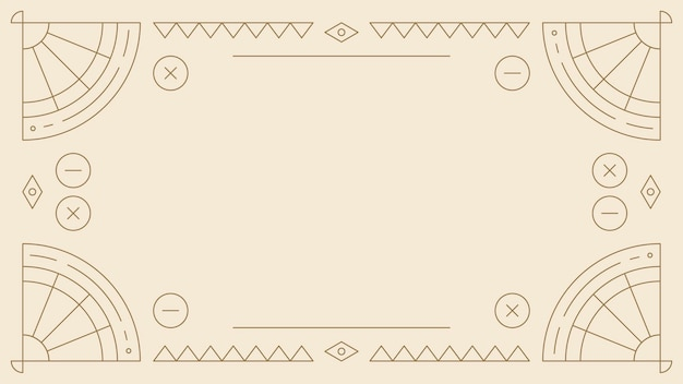 Moldura étnica geométrica em branco bege
