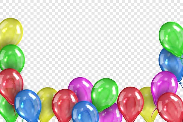 Moldura feita de balões de gel coloridos isolados em fundo transparente