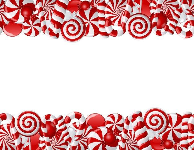 Moldura feita de bombons vermelhos e brancos. padrão uniforme
