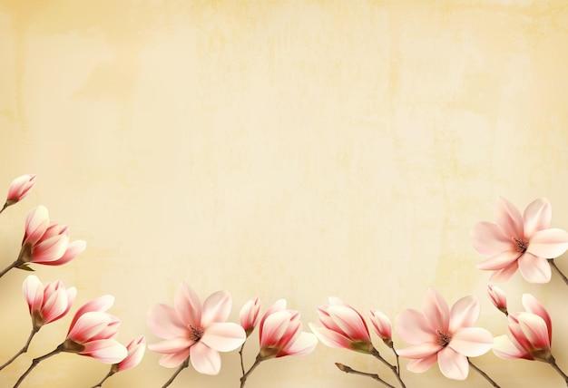 Moldura feita de flores de magnólia.