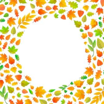 Moldura feita de folhas de outono em forma de círculo