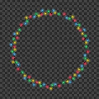 Moldura feita de guirlanda de luz de natal guirlandas de borda de círculo de cores para decoração de natal