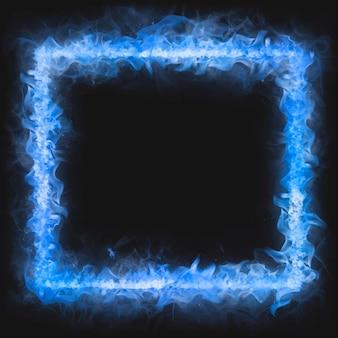Moldura flamejante, forma quadrada azul, vetor de fogo ardente realista
