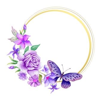 Moldura floral aquarela elegante com decoração botânica