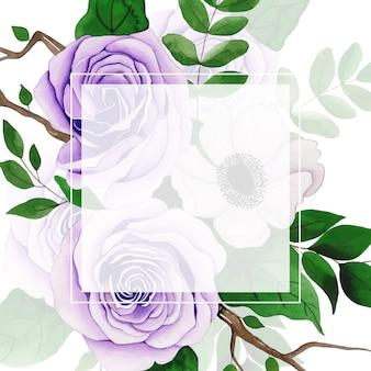 Moldura floral aquarela