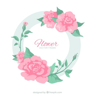 Moldura floral circular com rosas elegantes